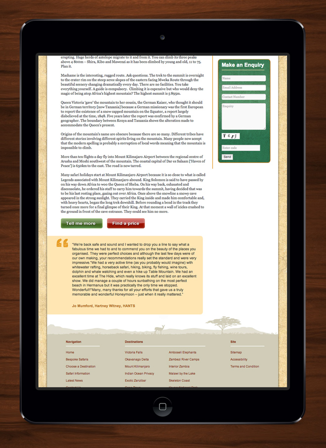 Bespoke African Safari Website on iPad