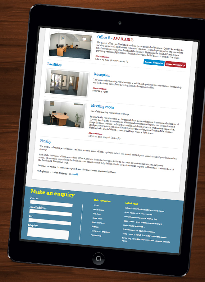 Scala House Offices website on iPad