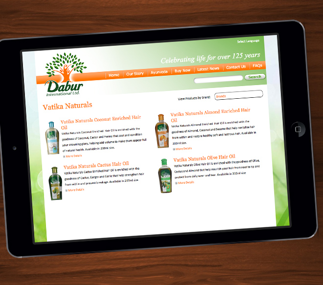 Dabur UK website on iPad