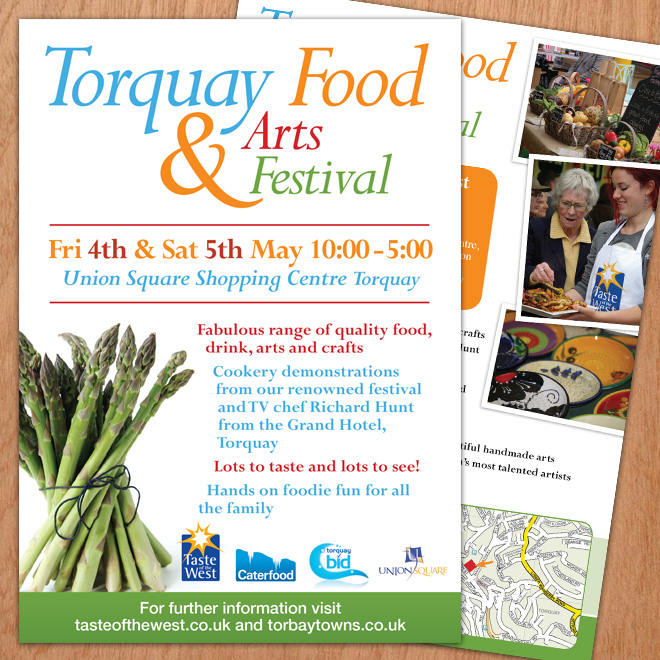 Flyer designs for Torbay Food and Arts Festival