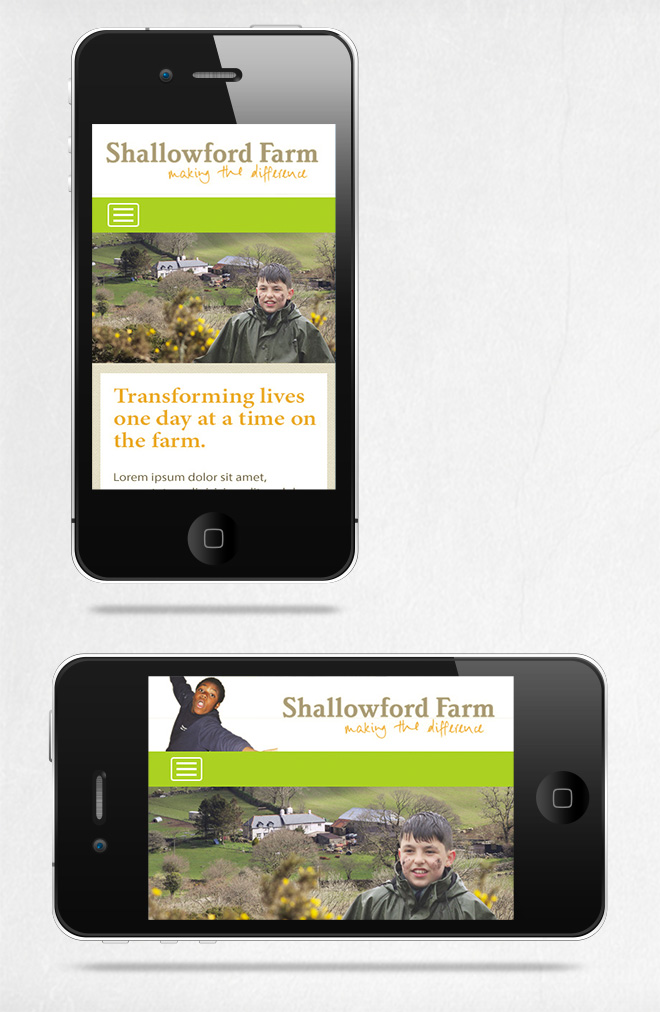 Shallowford Farm Website on Smart phones