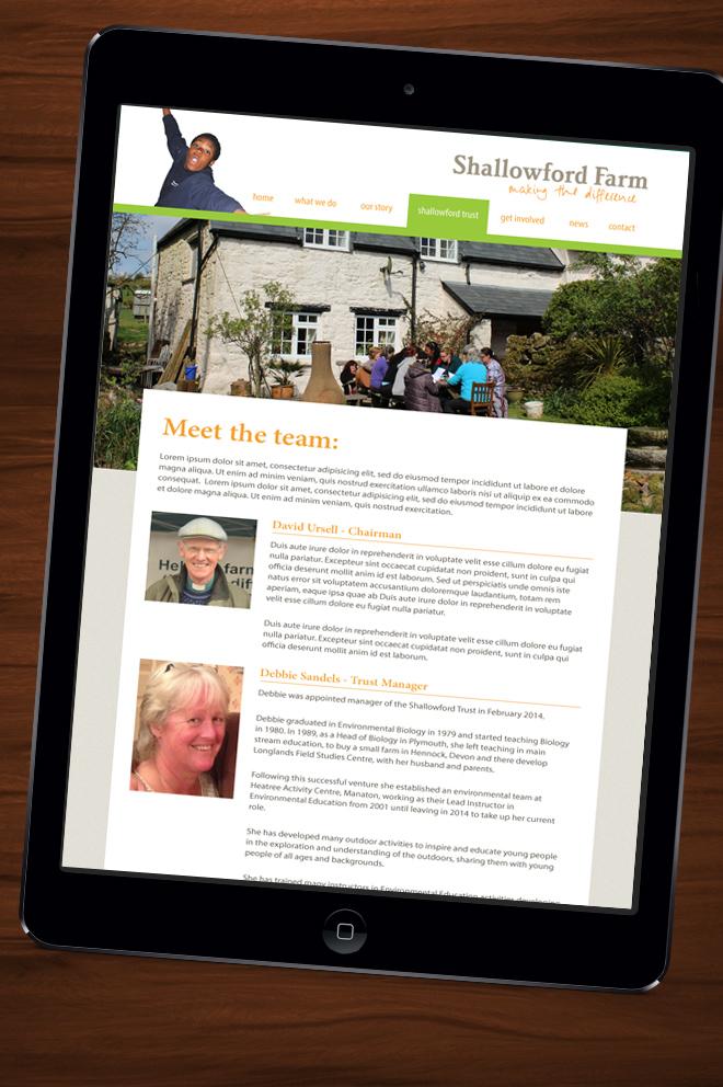 Shallowford website on iPad